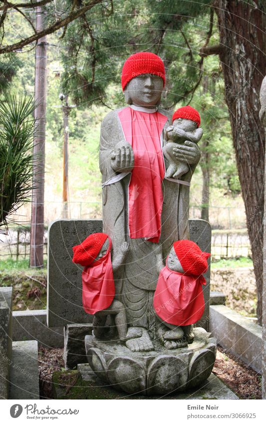 Statue with children Koyasan Japan Cemetery Grief Decline Transience Lose Colour photo Exterior shot Day