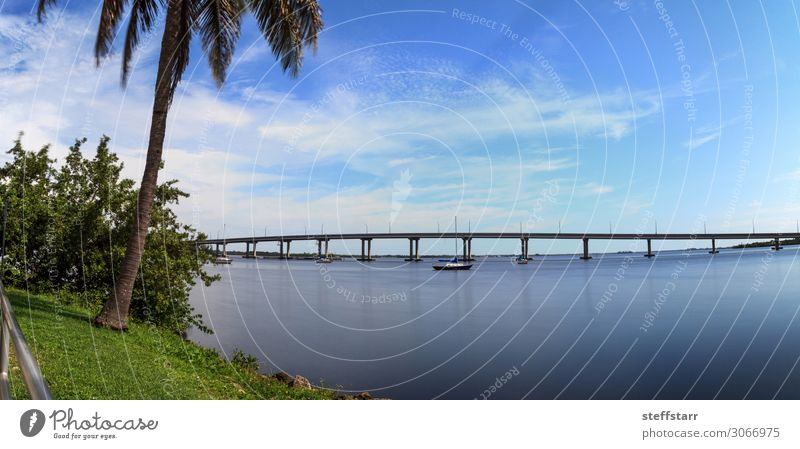 Edison Bridge over the Caloosahatchee River in Fort Myers Vacation & Travel Trip Ocean Sailing Nature Landscape Coast Harbour Street Sailboat Watercraft Blue