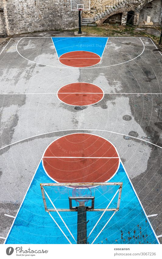 Empty and grunge basketball court. Aerial view. Old Blue Red Joy Street Architecture Lifestyle Sports Movement Health care Playing School Stone Brown Design
