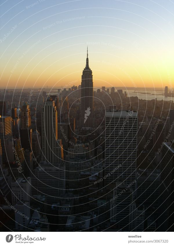 Skyline of Manhattan / New York Beautiful weather New York City USA Americas High-rise Bank building Manmade structures Building Architecture
