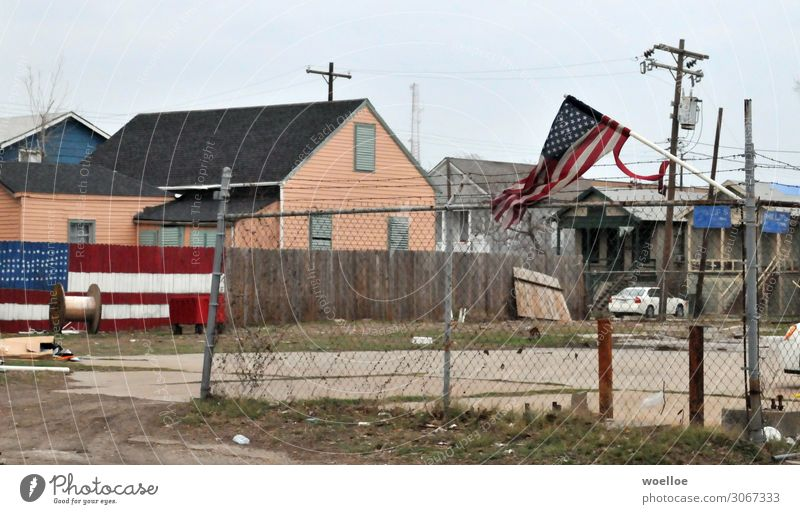 Blue Town Red House (Residential Structure) Gray Gloomy USA Transience Broken Flag Americas American Flag Fence Destruction Backyard Industrial plant