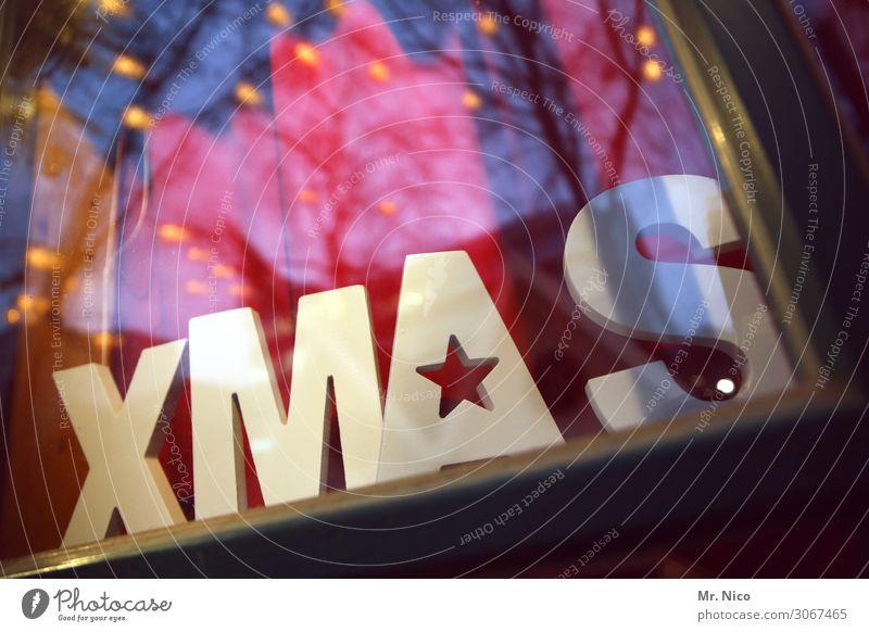Last Christmas Winter Christmas & Advent Design Shop window Winter mood Window pane Characters Letters (alphabet) Pensive Moody Christmas decoration