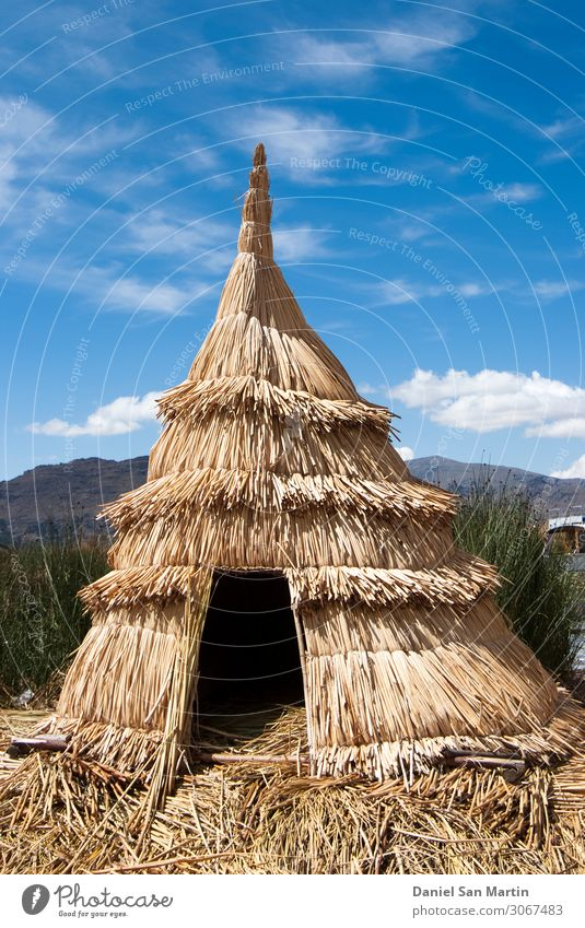 Landscape of the Uros floating islands Vacation & Travel Tourism Adventure Summer Island Mountain House (Residential Structure) Wallpaper Culture Nature Sky