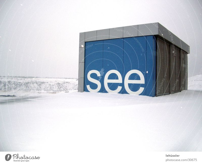 "snow and ""see"" Terrace White Concrete Wood Project Exhibition Trade fair iba Blue Snow Mining"