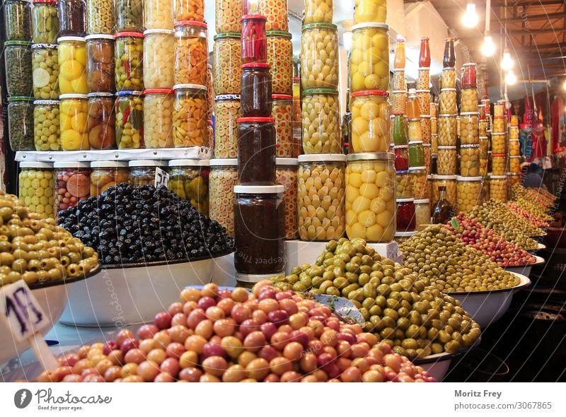 Long way with thousands of olives on a market. Vegetable Dinner Organic produce Vegetarian diet Nature Sell Tradition vegetarian fresh natural Olive cooking