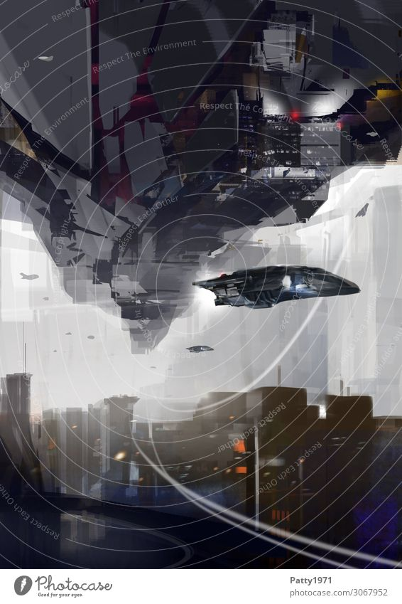 upside down Advancement Future High-tech Aviation Astronautics Skyline Deserted House (Residential Structure) High-rise Aircraft UFO Flying Dark Town Movement