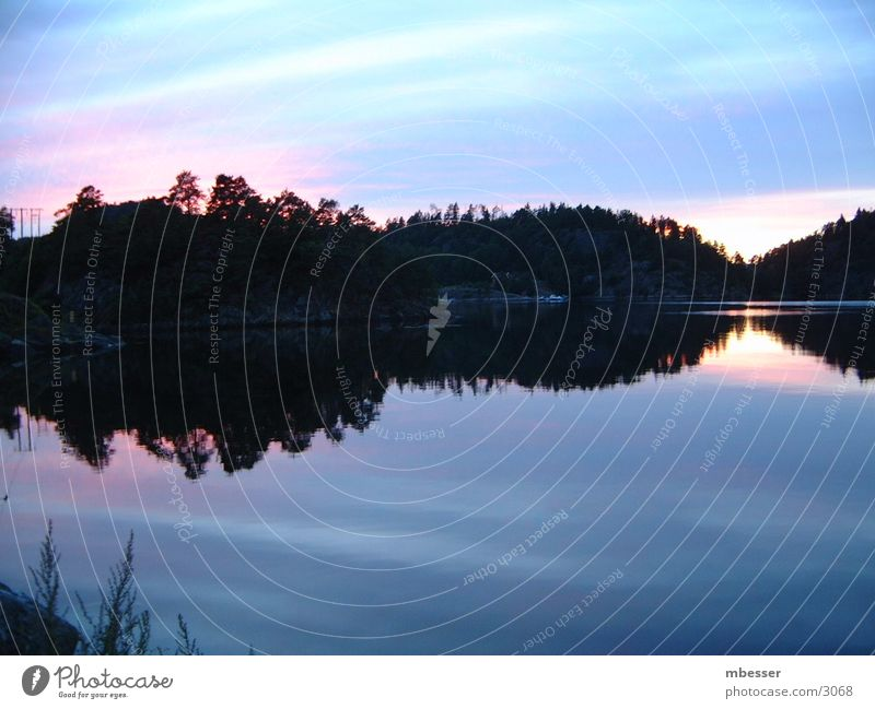 Water Sky Lake Navigation Sweden Dusk Scandinavia