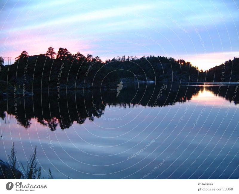 Water Sky Lake Navigation Sweden Dusk Scandinavia