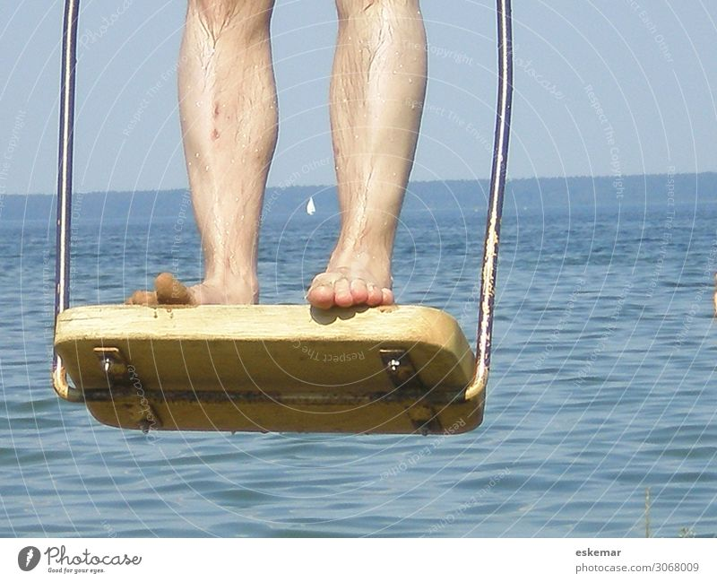 rock Joy Relaxation Leisure and hobbies Playing Vacation & Travel Trip Summer Summer vacation Human being Masculine Man Adults Legs Feet 1 Water Lake To swing