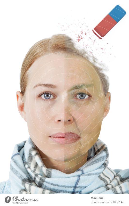 Alzheimer's dementia Woman Adults Female senior Grandmother Senior citizen Old Dry Portrait photograph Eraser Wrinkle Illness Blonde Young woman Colour photo