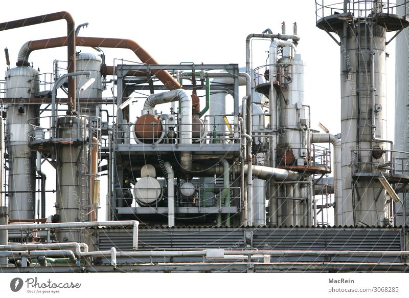 Refinery Plant Industry Industrial plant Environmental pollution Industrial Photography Conduit Gas Petroleum pipeline Colour photo Exterior shot Deserted