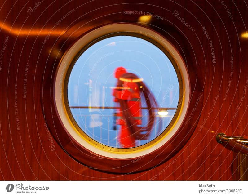 porthole Human being Masculine Man Adults 1 45 - 60 years Air Water Gale Rain Navigation Passenger ship Cruise liner Porthole Carrying Seaman Colour photo