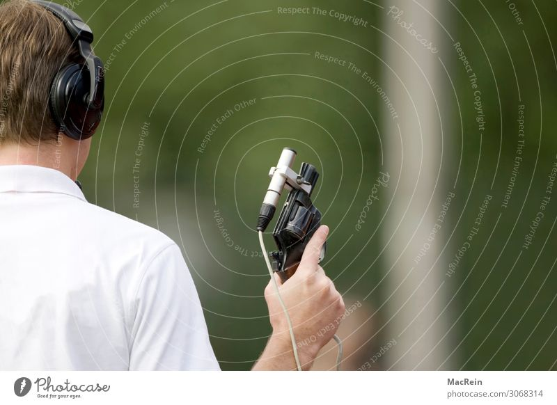starting shot Human being Masculine Man Adults Body Head Hair and hairstyles Back Hand 1 30 - 45 years Sports Retentive Shoot Handgun Referee Microphone
