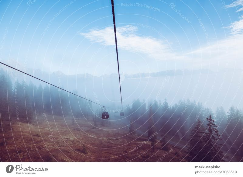 Cable car in the fog Vacation & Travel Winter Snowboard Nature To enjoy Looking mountain aerial passenger line aerial passenger tramway aerial railway