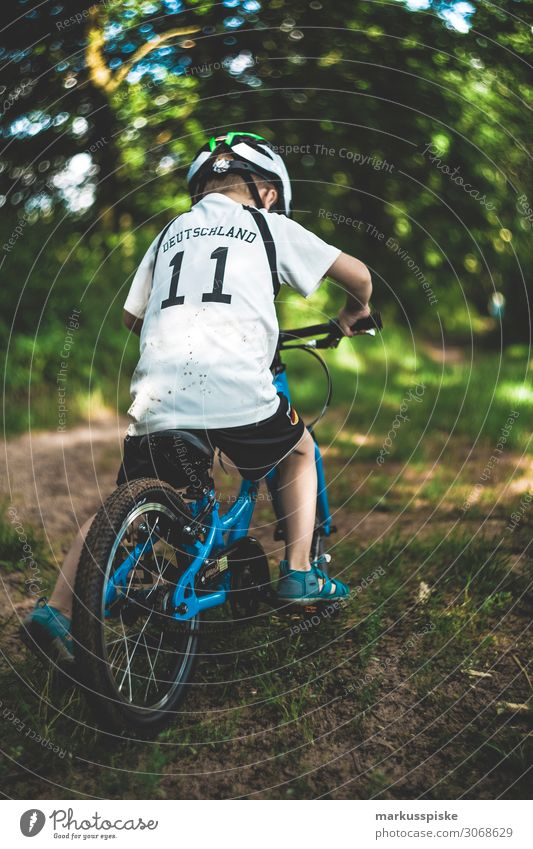 Boy with mountain bike in the forest Lifestyle Healthy Athletic Fitness Leisure and hobbies Playing Tourism Trip Adventure Far-off places Freedom Cycling tour