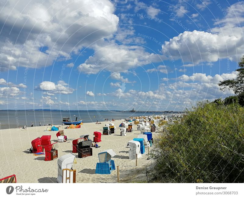 Beach baskets on the Baltic Sea on Usedom Vacation & Travel Tourism Summer Summer vacation Sun Ocean Human being Nature Sand Water Beautiful weather