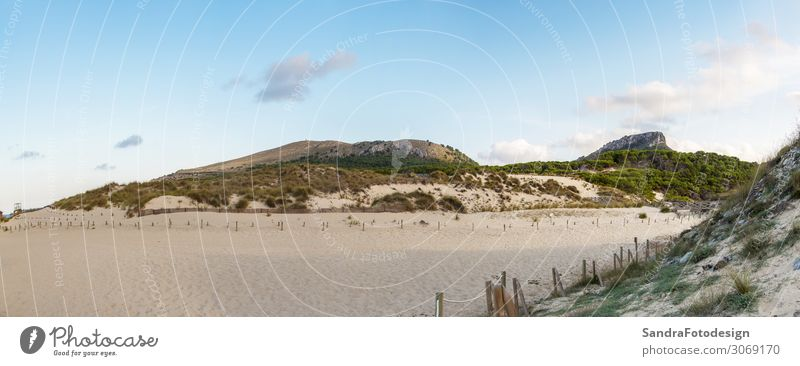 A panorama from dunes of Cala Mesquida, Mallorca Relaxation Leisure and hobbies Vacation & Travel Tourism Trip Summer Beach Hiking Nature Sand Beautiful weather
