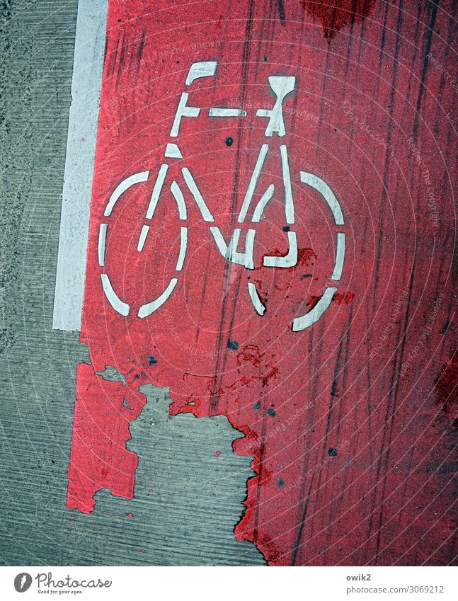 haggard Transport Traffic infrastructure Cycle path Bicycle Sign Under Town Red White Pictogram Abrasion Damage Floor covering Asphalt Tracks Dye Colour photo