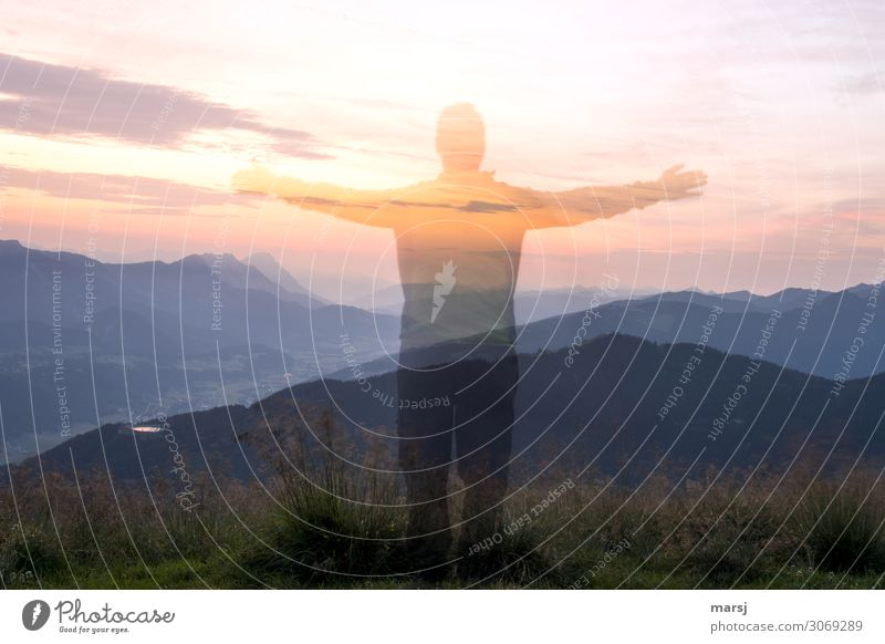Nebulous appearance at sunrise. Human being Masculine Man Adults 1 Nature Sky Clouds Sunrise Sunset Beautiful weather Alps Mountain Illuminate Exceptional