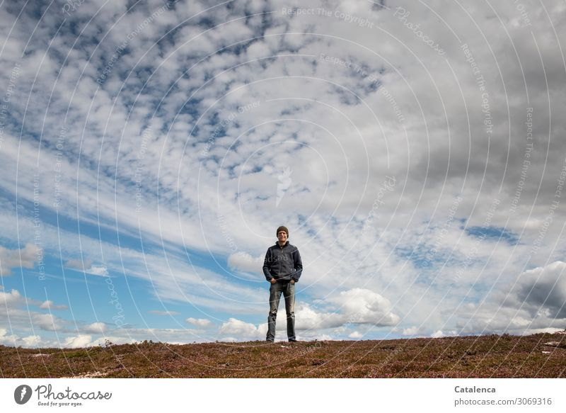 Man standing on the hilltop, the wide sky decorated with clouds above him Nature Landscape person masculine Stand Observe red cap Horizon Sky Clouds Weather