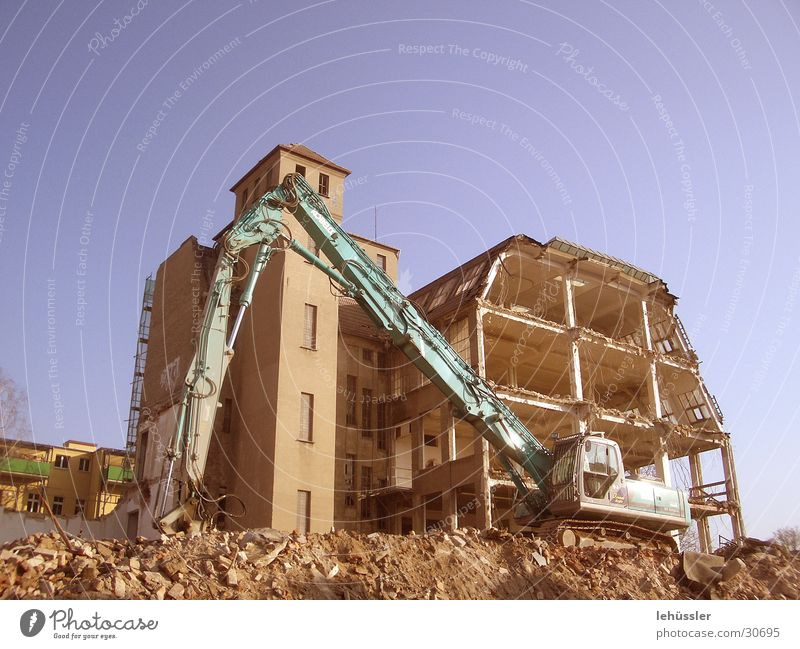 House (Residential Structure) Stone Architecture Story Ruin Trash Dismantling Excavator Building rubble Raw Projectile