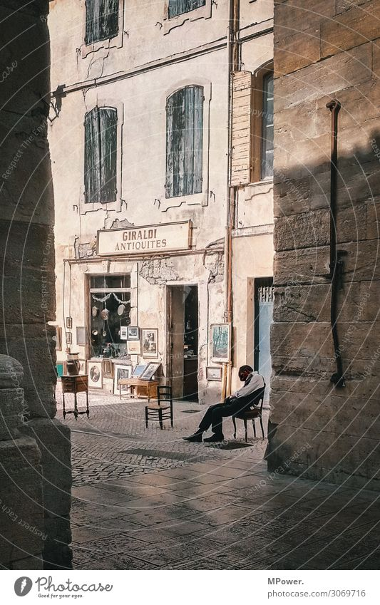 Human being Man Town House (Residential Structure) Adults Sit Idyll Sleep France Old town Village French Siesta Antique shop Antiques dealer