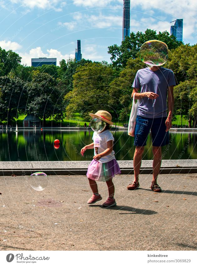 Bubble headed people chasing bubbles in the park Joy City trip Summer Sun Human being Child Girl Man Adults Father 2 Art Plant Water Sky Clouds