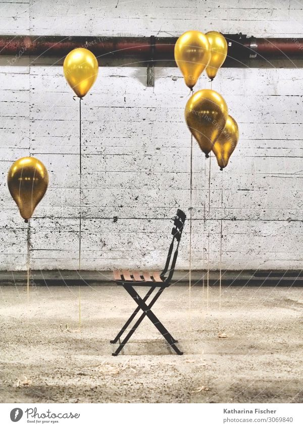 The beginning II Chair Parking garage Yellow Gold Gray Orange Black White Hot Air Balloon Wall (building) Wall (barrier) Garage Underground garage Creativity