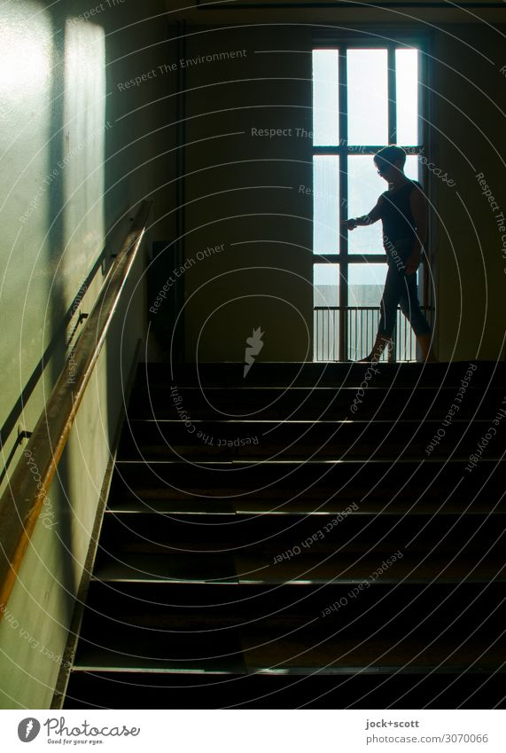 View in the staircase (1600 pcs.) GDR Warmth Treptow Office building Stairs Window Staircase (Hallway) Banister Movement Going Long Above Retro Emotions Moody