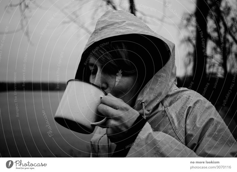 Vacation & Travel Nature Loneliness Dark Autumn Warmth Cold Rain Hiking Wait Coffee Beverage Drinking Tea Cup Camping