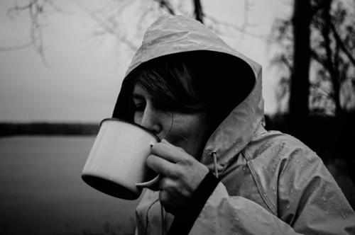 warm your neck, cause science is real Beverage Drinking Hot drink Hot Chocolate Coffee Tea Mulled wine Cup Mug Coat Raincoat Rain jacket Dark Cold Thirst