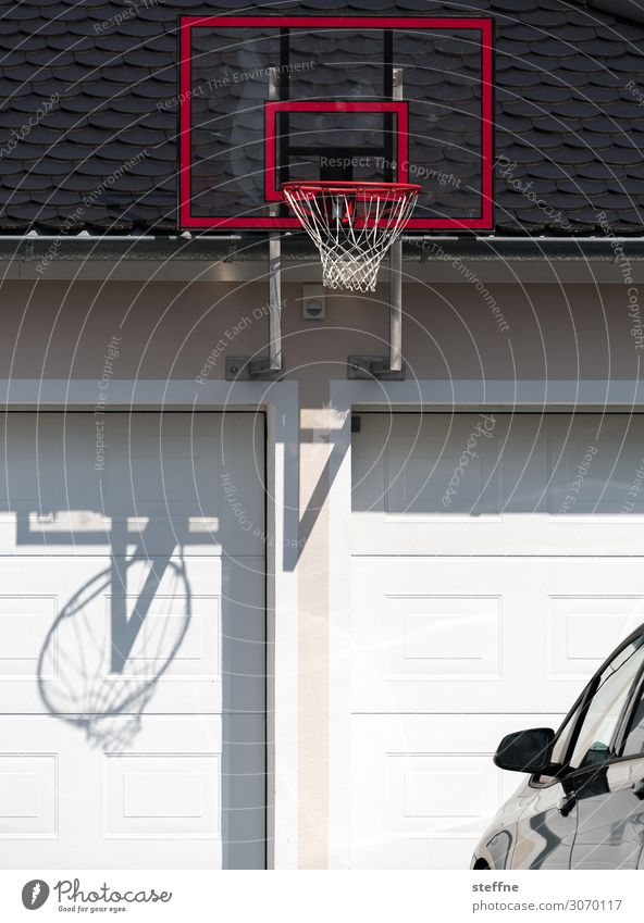 basketball Sports Fitness Sports Training Car Movement Basketball arena Garage streetball Basketball basket Colour photo Exterior shot Copy Space bottom