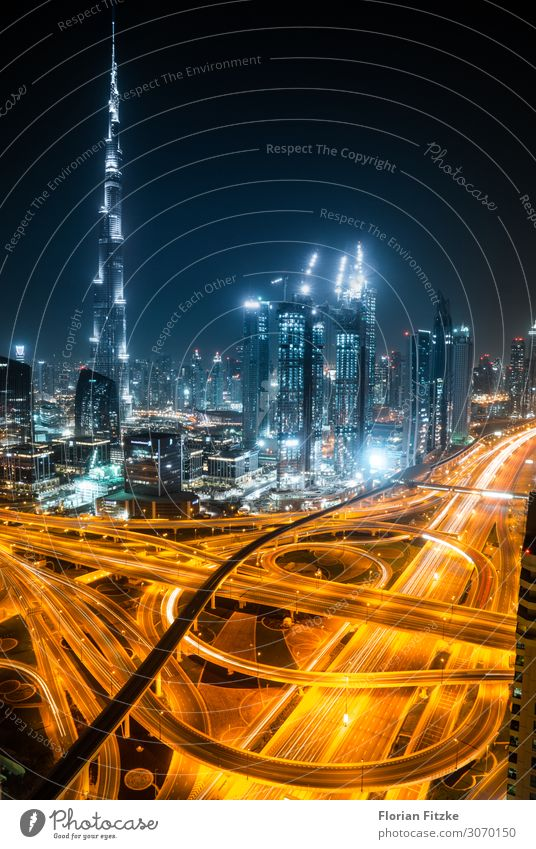 Dubai skyline and motorway Town Capital city Port City Downtown Skyline High-rise Bank building Manmade structures Building Architecture Tourist Attraction