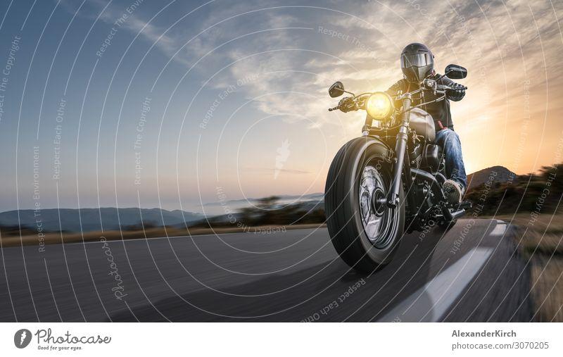 motorbike on the road riding. Lifestyle Elegant Joy Vacation & Travel Sports Engines Human being Nature Landscape Sunrise Sunset Sunlight Means of transport