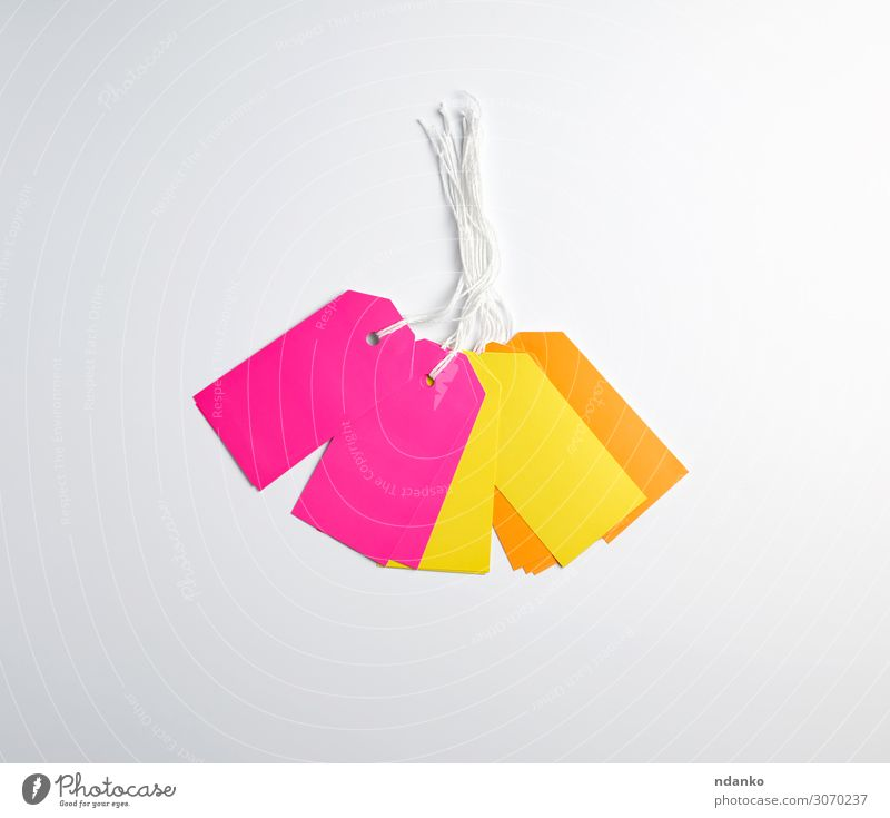 rectangular paper pinks, yellow and orange tags Craft (trade) Business Rope Paper Packaging String Hang Sell Natural Above Brown Yellow Pink White Shopping
