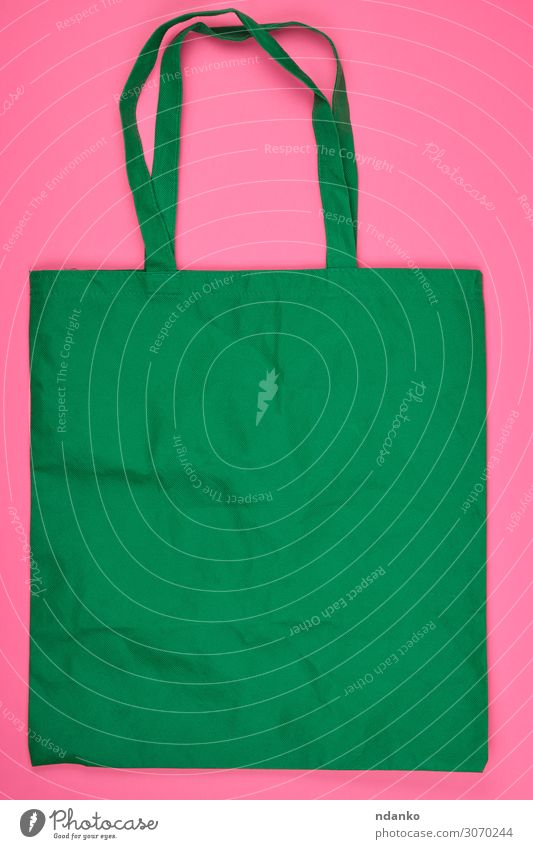 empty green ecological bag made of viscose Green Environment Style Fashion Pink Shopping Large Strong Cloth Material Storage Conceptual design Consistency