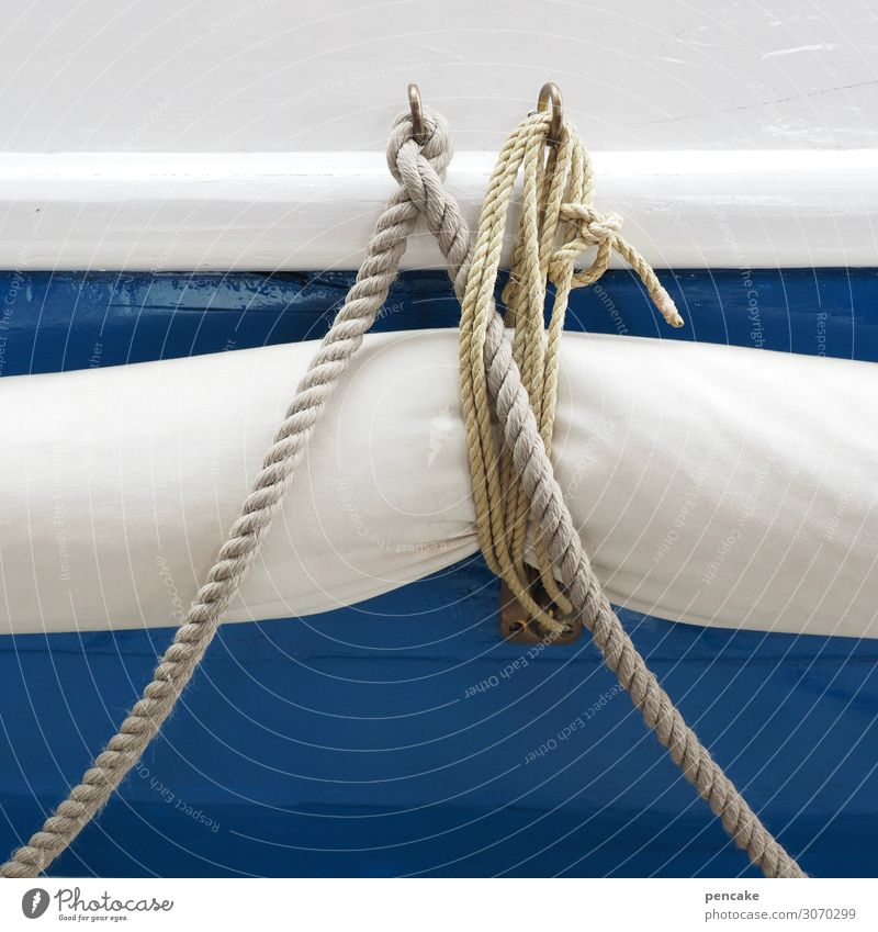 linen duty Navigation Dinghy Near Maritime Rope Rescue Ocean North Sea Blue-white Maritime disaster Museum Netherlands Colour photo Exterior shot Abstract