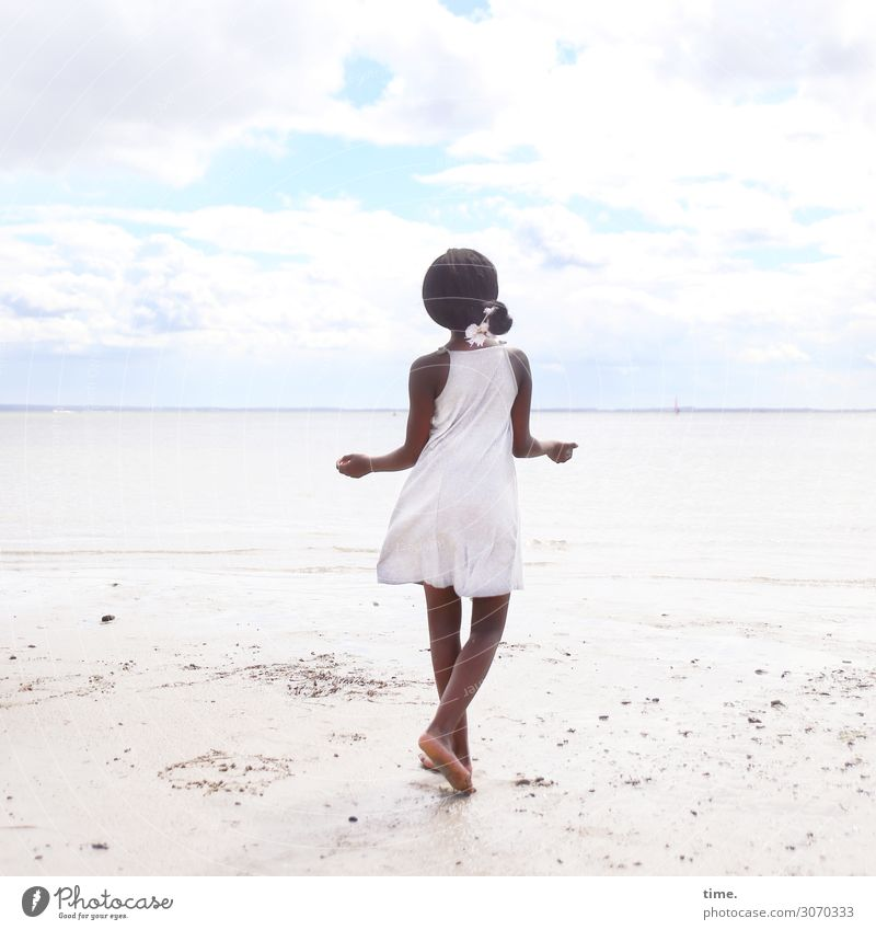 gloria Feminine Girl 1 Human being Sand Water Sky Clouds Horizon Summer Coast Beach Baltic Sea Dress Jewellery Barefoot Black-haired Long-haired Braids Movement