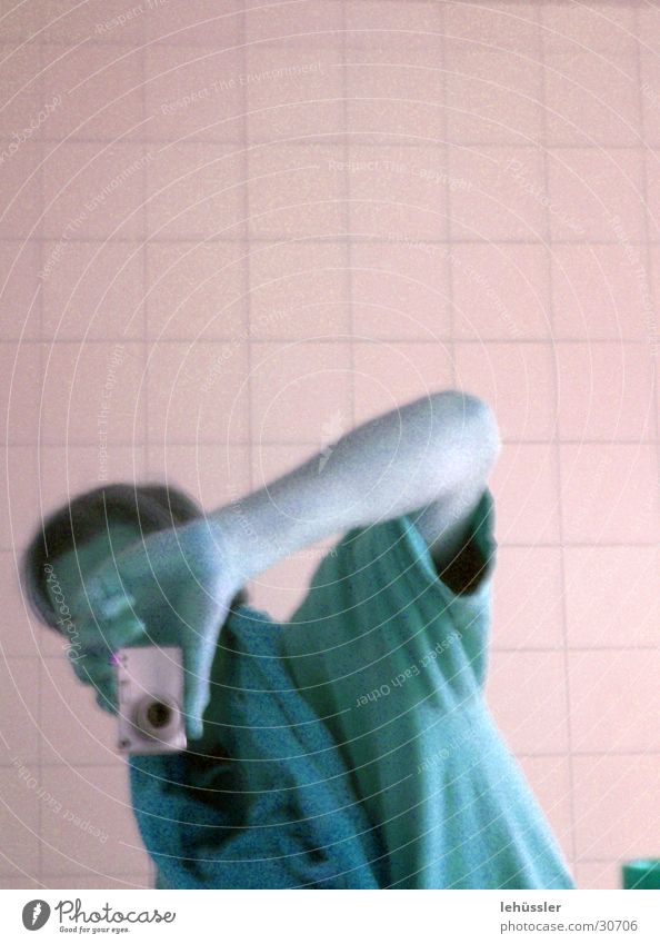 Man T-shirt Bathroom Camera Tile Take a photo Self portrait
