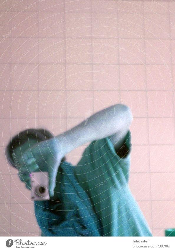 Man T-shirt Bathroom Camera Tile Take a photo Self portrait