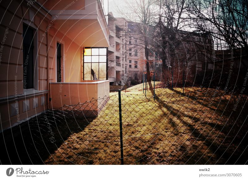 balcony lighting Landscape Sky Clouds Tree Grass Lawn goerlitz Germany Saxony Small Town House (Residential Structure) Building Housefront Wall (barrier)