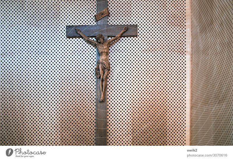 sign of life Christian cross Crucifix Jesus Christ Wooden wall Hang Old Glittering Hope Belief Humble Religion and faith Hollow Colour photo Interior shot