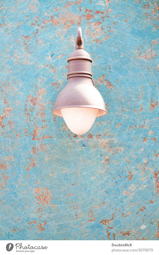 Beautiful lamp on rusty background Wall (barrier) Wall (building) Metal Rust Dirty Shabby Lamp Lantern Flake off Dappled Patch weather-beaten Derelict Worn out