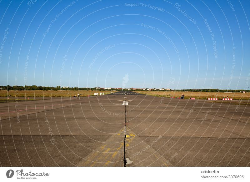 Tempelhof (somewhat crooked) Berlin Far-off places Trajectory Airport Airfield Freedom Sky Heaven Horizon Deserted Runway Skyline Summer Sun