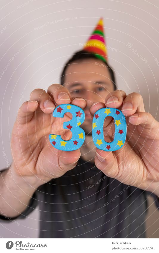30s Entertainment Party Feasts & Celebrations Carnival Birthday Man Adults Face Hand 1 Human being 30 - 45 years Hat Sign Digits and numbers Select To hold on