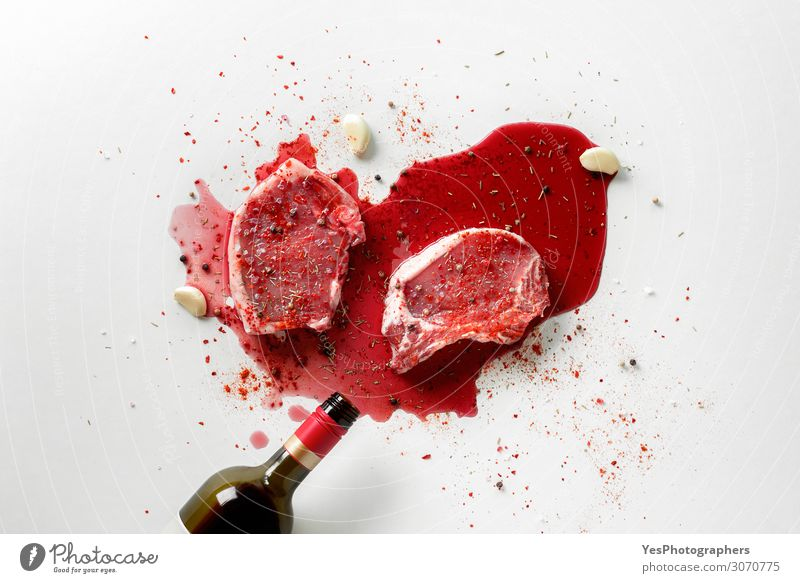 Cooking pork steaks with wine concept. Meat Herbs and spices Nutrition Lunch Dinner Wine Bottle Kitchen Red White above view bbq butchery Conceptual design