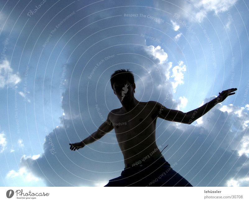 shadow man Man Clouds Light Jump Human being Shadow Sky Sun