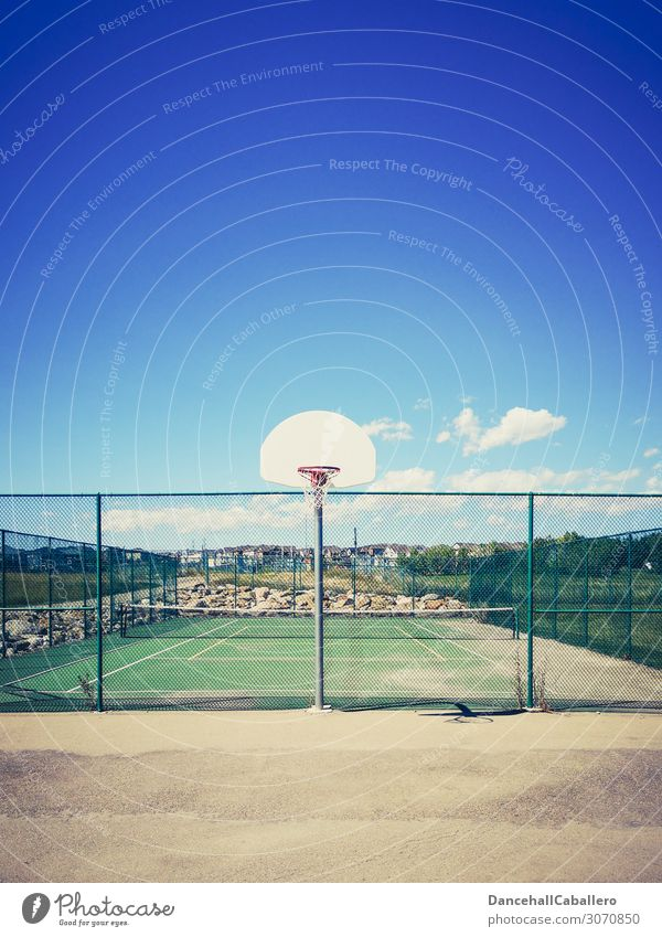 let's play... Style Summer Sports Sporting Complex Sky Clouds Beautiful weather Retro Clean Athletic Basketball Basketball arena Basketball basket Tennis
