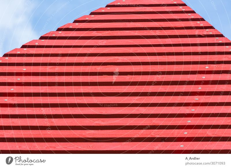 red wooden slats Art Work of art Sculpture Architecture Sky Hut Manmade structures Building Wall (barrier) Wall (building) Landmark Wood Blue Red Beginning