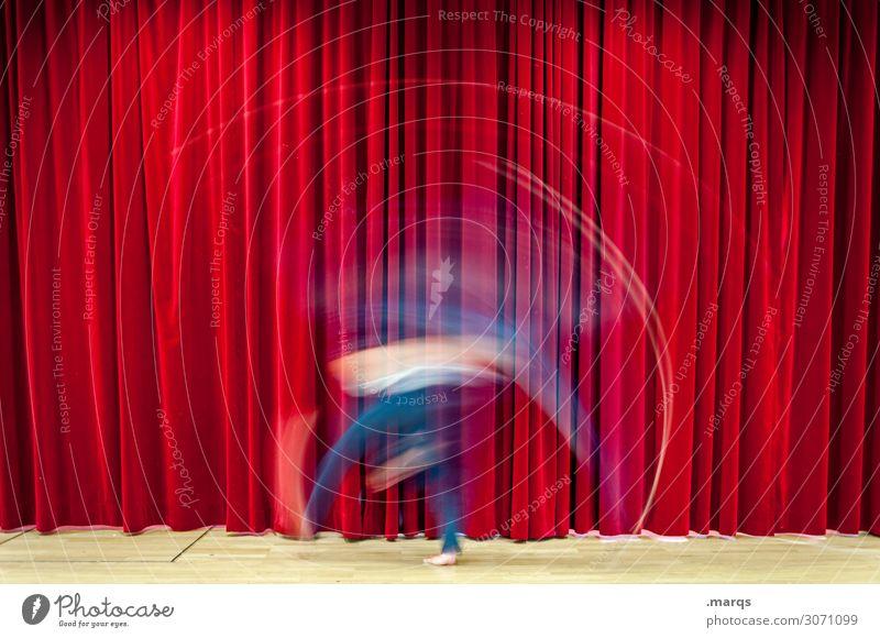 acrobatics Entertainment Event Human being Adults 1 Stage play Actor Dancer Culture Shows Movement Rotate Esthetic Crazy Red Colour Dynamics Drape Acrobatics